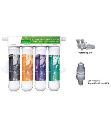 Equipo Ultrafiltración Nelva 4 cartuchos + reductor de presión + antifugas