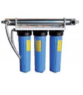 "Purificador de agua, filtro triple 9 3/4"" con ultravioleta 10W"