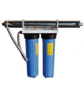 """Purificador de agua filtro doble 20"""" con ultravioleta 24W"""